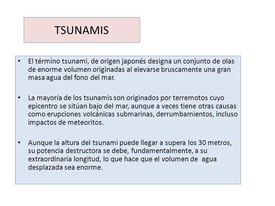 TSUNAMIS El término tsunami, de origen japonés designa un conjunto de olas de enorme volumen originadas al elevarse bruscamente una gran masa agua del