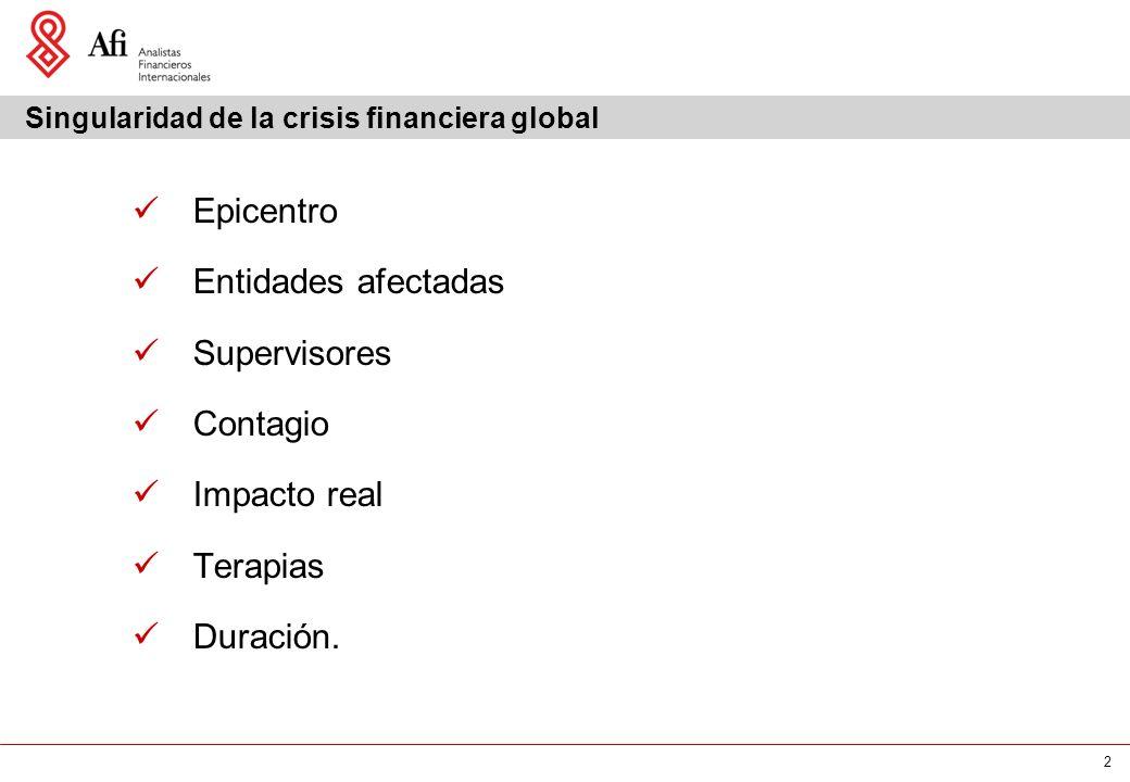 2 Singularidad de la crisis financiera global Epicentro Entidades afectadas Supervisores Contagio Impacto real Terapias Duración.
