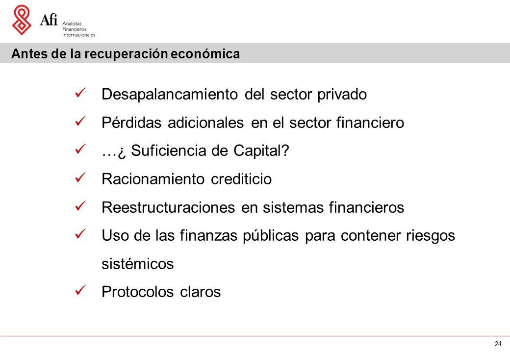 24 Antes de la recuperación económica Desapalancamiento del sector privado Pérdidas adicionales en el sector financiero …¿ Suficiencia de Capital.