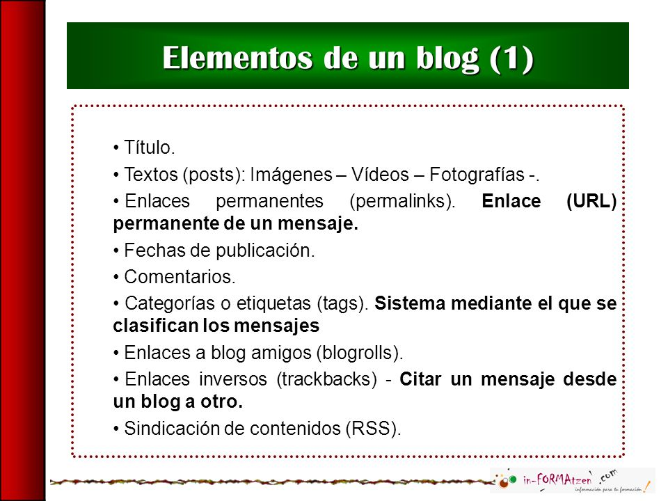 Título. Textos (posts): Imágenes – Vídeos – Fotografías -. Enlaces permanentes (permalinks). Enlace (URL) permanente de un mensaje. Fechas de publicac