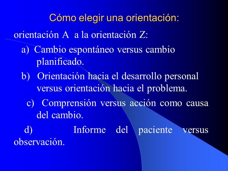 Cómo elegir una orientación: orientación A a la orientación Z: a) Cambio espontáneo versus cambio planificado. b) Orientación hacia el desarrollo pers