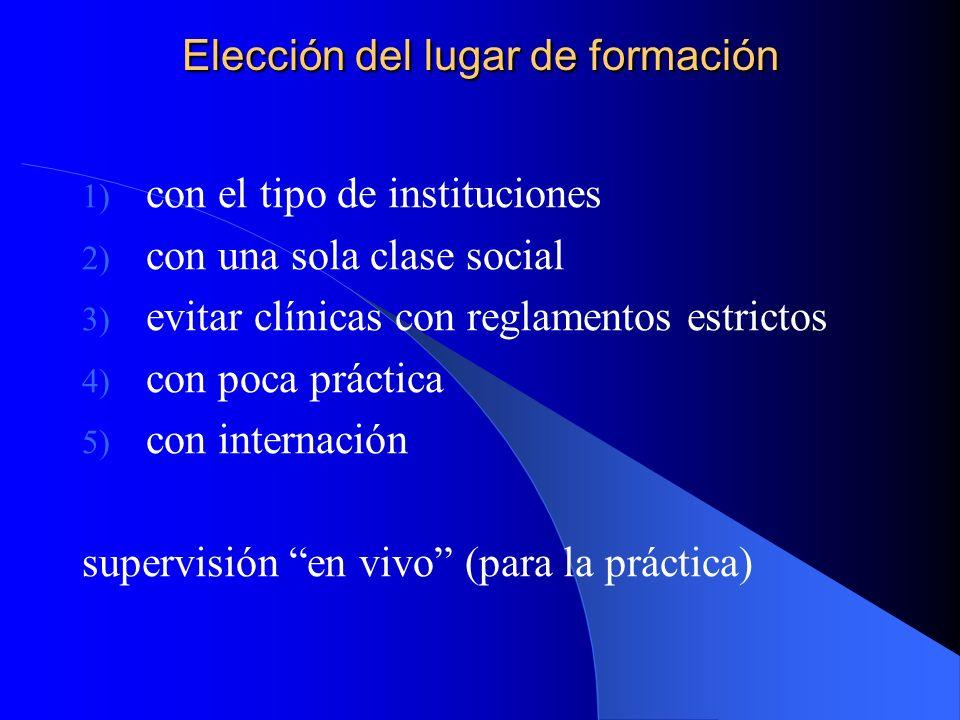 Elección del lugar de formación 1) con el tipo de instituciones 2) con una sola clase social 3) evitar clínicas con reglamentos estrictos 4) con poca