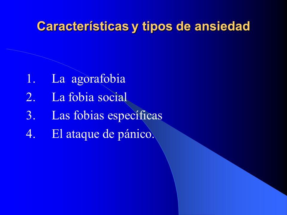 Características y tipos de ansiedad 1. La agorafobia 2. La fobia social 3. Las fobias específicas 4. El ataque de pánico.