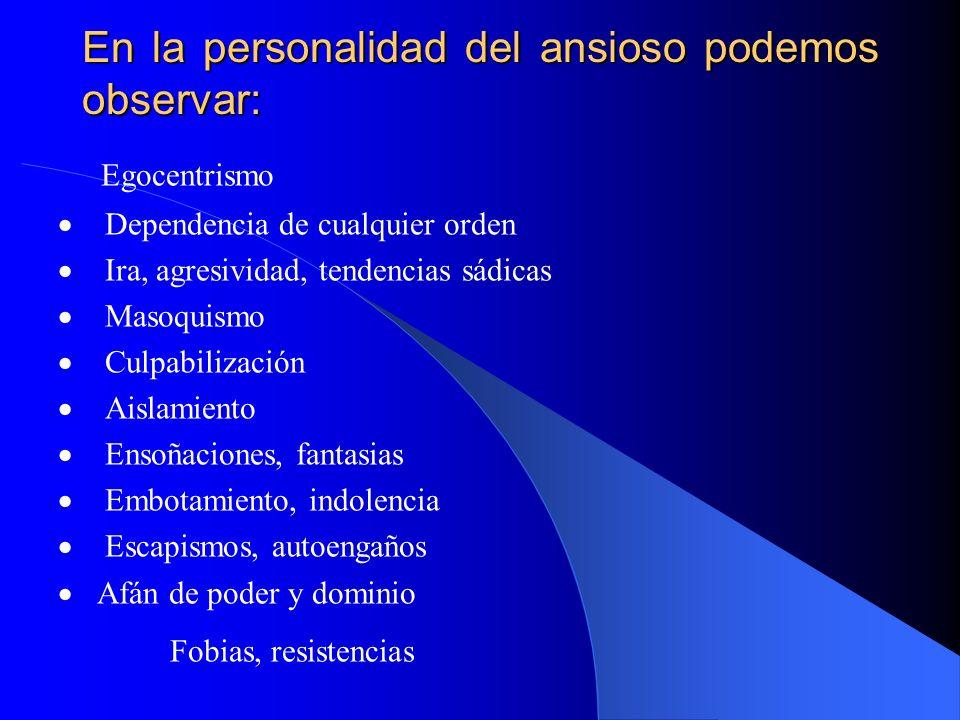 En la personalidad del ansioso podemos observar: Egocentrismo Dependencia de cualquier orden Ira, agresividad, tendencias sádicas Masoquismo Culpabili