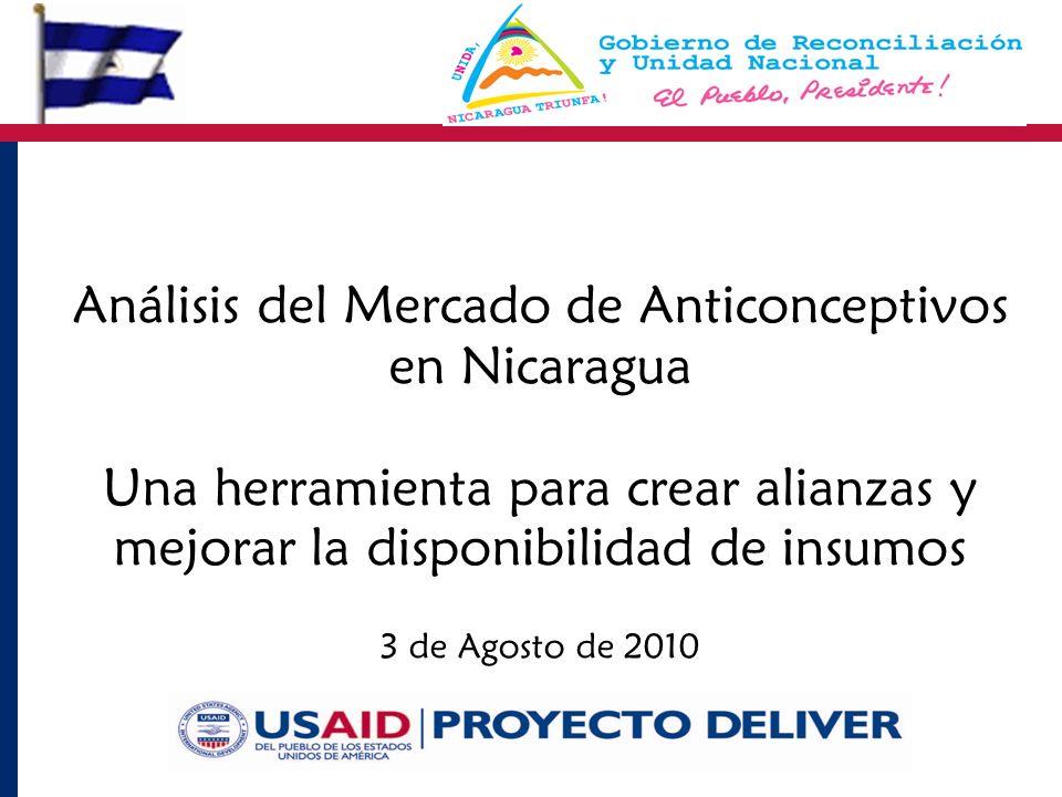 3 de Agosto de 2010 Análisis del Mercado de Anticonceptivos en Nicaragua Una herramienta para crear alianzas y mejorar la disponibilidad de insumos
