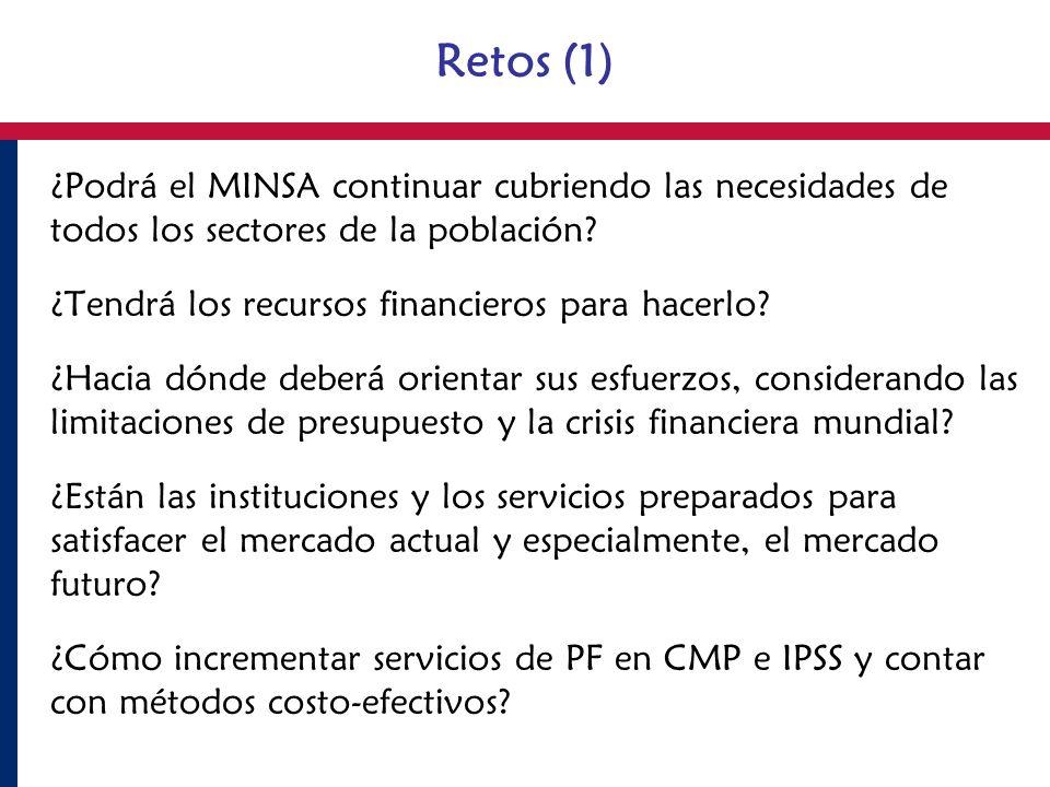 Retos (1) ¿Podrá el MINSA continuar cubriendo las necesidades de todos los sectores de la población? ¿Tendrá los recursos financieros para hacerlo? ¿H