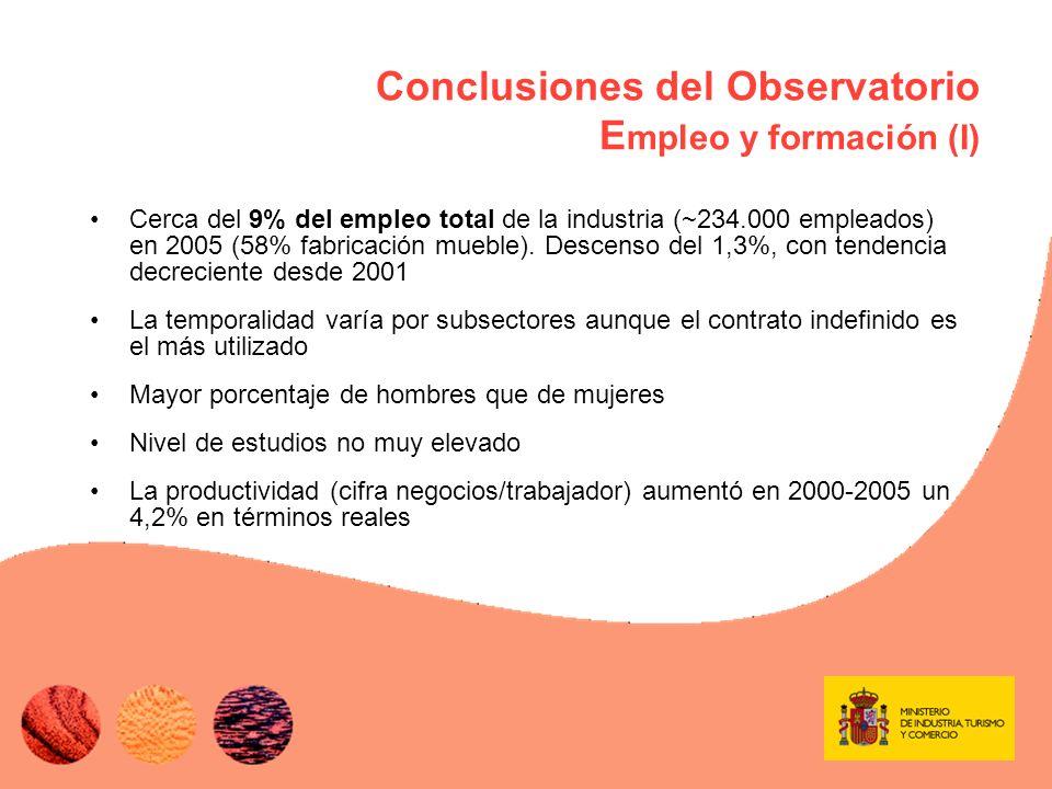Conclusiones del Observatorio E mpleo y formación (II) Siniestralidad –En 2005 el índice de accidentes fue 117 trabajadores por cada mil, mayor que la media de la industria (102 trabajadores/mil) y que la media nacional (60 trabajadores/mil).