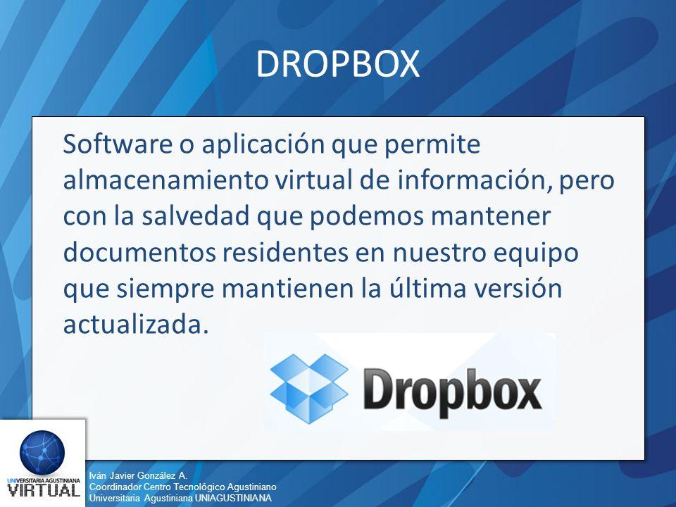 Iván Javier González A. Coordinador Centro Tecnológico Agustiniano Universitaria Agustiniana UNIAGUSTINIANA DROPBOX Software o aplicación que permite