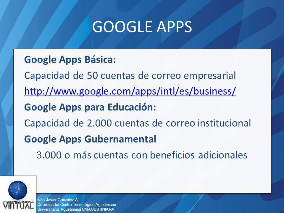 Iván Javier González A. Coordinador Centro Tecnológico Agustiniano Universitaria Agustiniana UNIAGUSTINIANA GOOGLE APPS Google Apps Básica: Capacidad