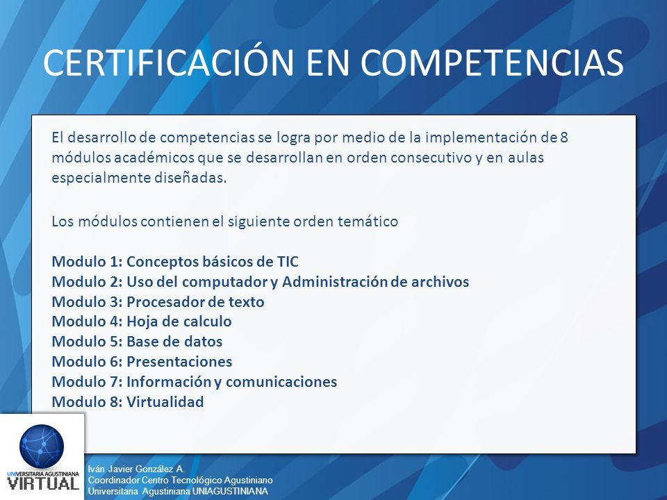 Iván Javier González A. Coordinador Centro Tecnológico Agustiniano Universitaria Agustiniana UNIAGUSTINIANA CERTIFICACIÓN EN COMPETENCIAS El desarroll