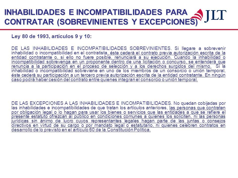 INHABILIDADES E INCOMPATIBILIDADES PARA CONTRATAR (SOBREVINIENTES Y EXCEPCIONES) Ley 80 de 1993, artículos 9 y 10: DE LAS INHABILIDADES E INCOMPATIBIL