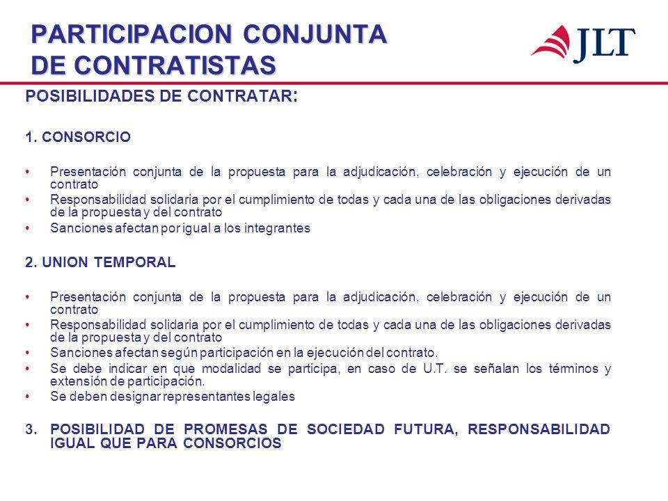 PARTICIPACION CONJUNTA DE CONTRATISTAS POSIBILIDADES DE CONTRATAR : 1. CONSORCIO Presentación conjunta de la propuesta para la adjudicación, celebraci