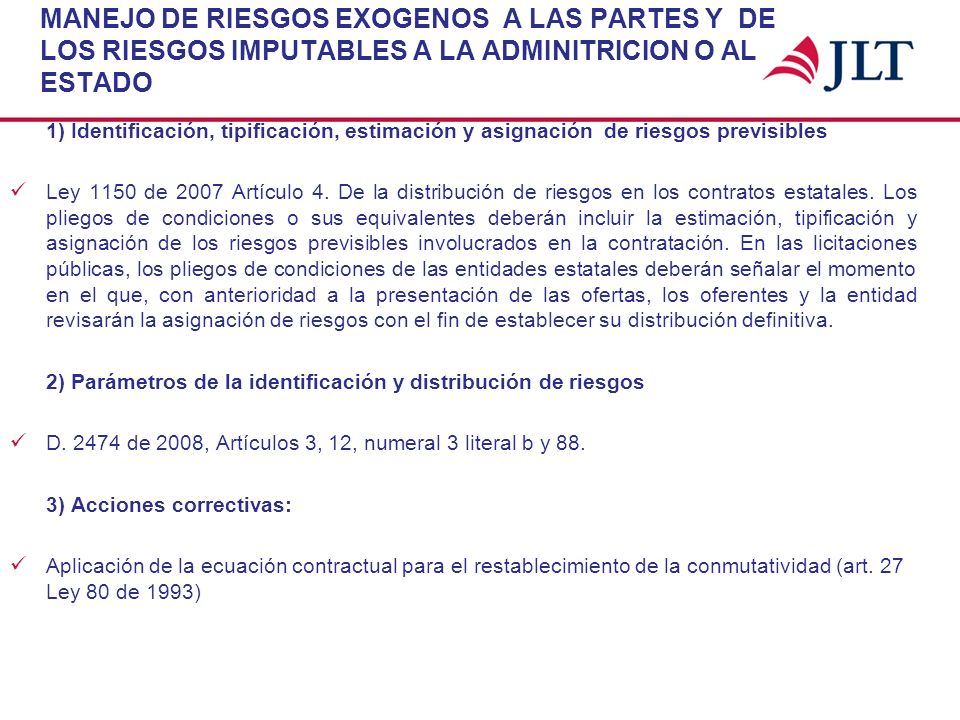 MANEJO DE RIESGOS EXOGENOS A LAS PARTES Y DE LOS RIESGOS IMPUTABLES A LA ADMINITRICION O AL ESTADO 1) Identificación, tipificación, estimación y asign