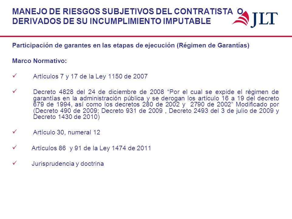 MANEJO DE RIESGOS SUBJETIVOS DEL CONTRATISTA O DERIVADOS DE SU INCUMPLIMIENTO IMPUTABLE Participación de garantes en las etapas de ejecución (Régimen