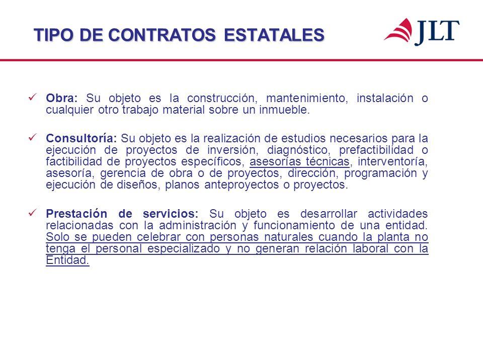 TIPO DE CONTRATOS ESTATALES Obra: Su objeto es la construcción, mantenimiento, instalación o cualquier otro trabajo material sobre un inmueble. Consul