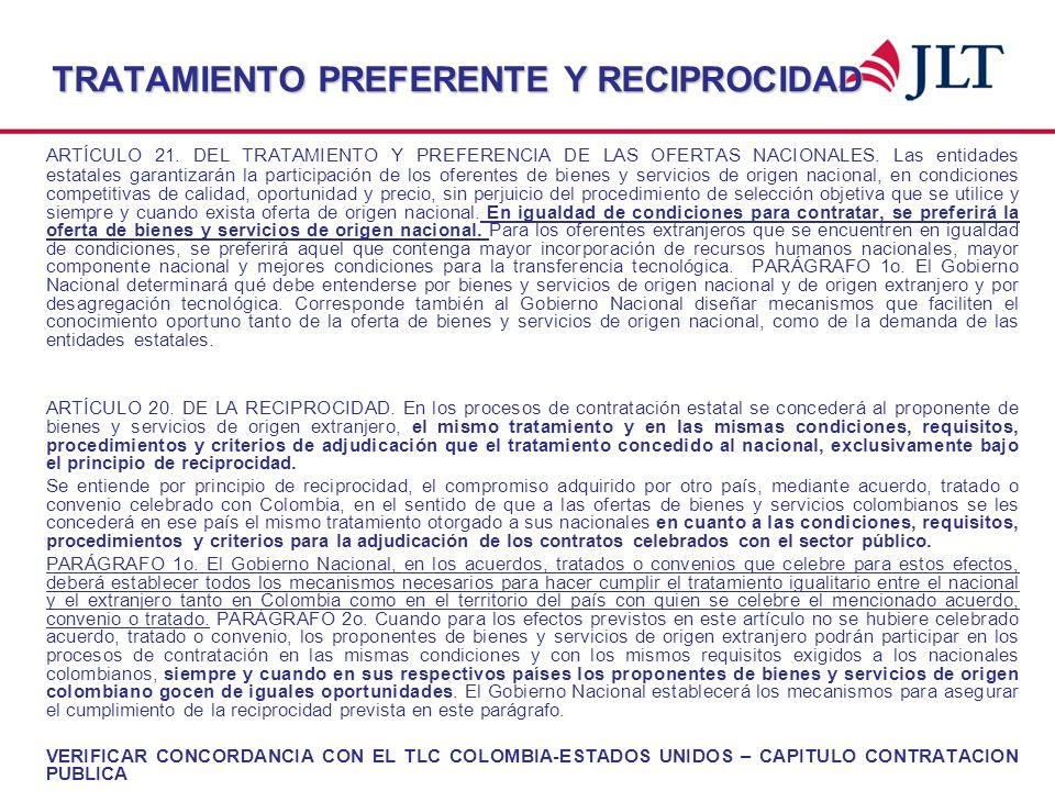 TRATAMIENTO PREFERENTE Y RECIPROCIDAD ARTÍCULO 21. DEL TRATAMIENTO Y PREFERENCIA DE LAS OFERTAS NACIONALES. Las entidades estatales garantizarán la pa