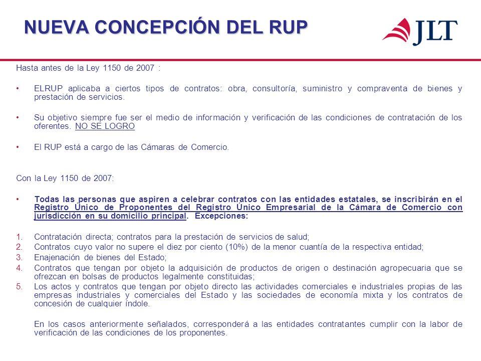 NUEVA CONCEPCIÓN DEL RUP Hasta antes de la Ley 1150 de 2007 : ELRUP aplicaba a ciertos tipos de contratos: obra, consultoría, suministro y compraventa