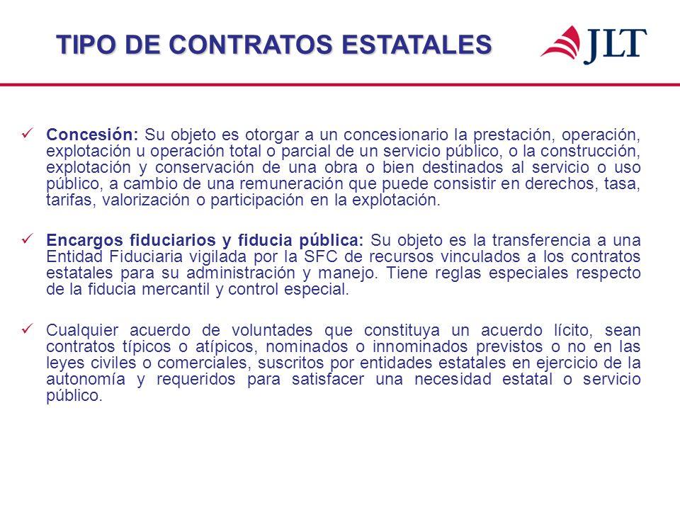 Concesión: Su objeto es otorgar a un concesionario la prestación, operación, explotación u operación total o parcial de un servicio público, o la cons