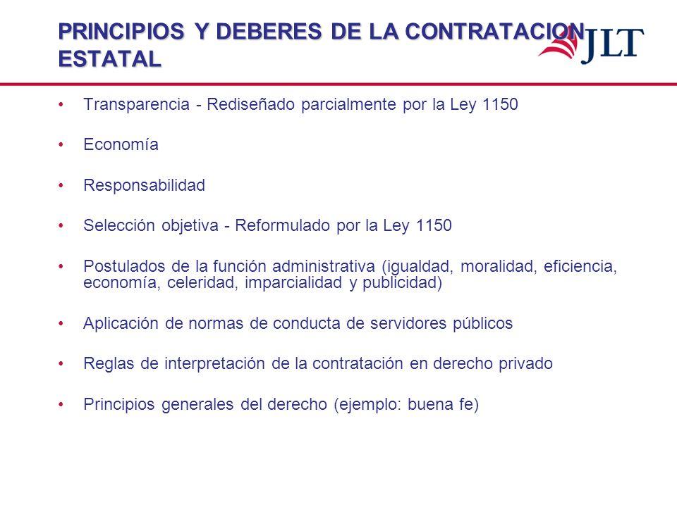 PRINCIPIOS Y DEBERES DE LA CONTRATACION ESTATAL Transparencia - Rediseñado parcialmente por la Ley 1150 Economía Responsabilidad Selección objetiva -