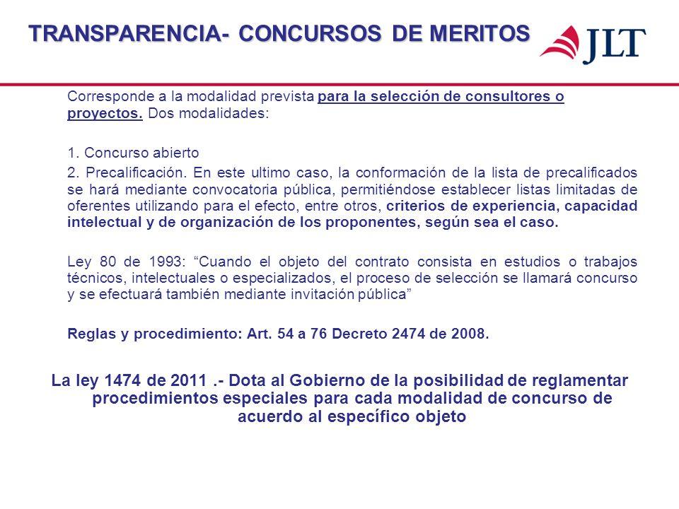 TRANSPARENCIA- CONCURSOS DE MERITOS Corresponde a la modalidad prevista para la selección de consultores o proyectos. Dos modalidades: 1. Concurso abi