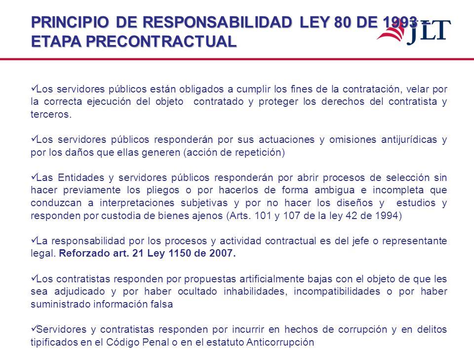 PRINCIPIO DE RESPONSABILIDAD LEY 80 DE 1993 – ETAPA PRECONTRACTUAL Los servidores públicos están obligados a cumplir los fines de la contratación, vel