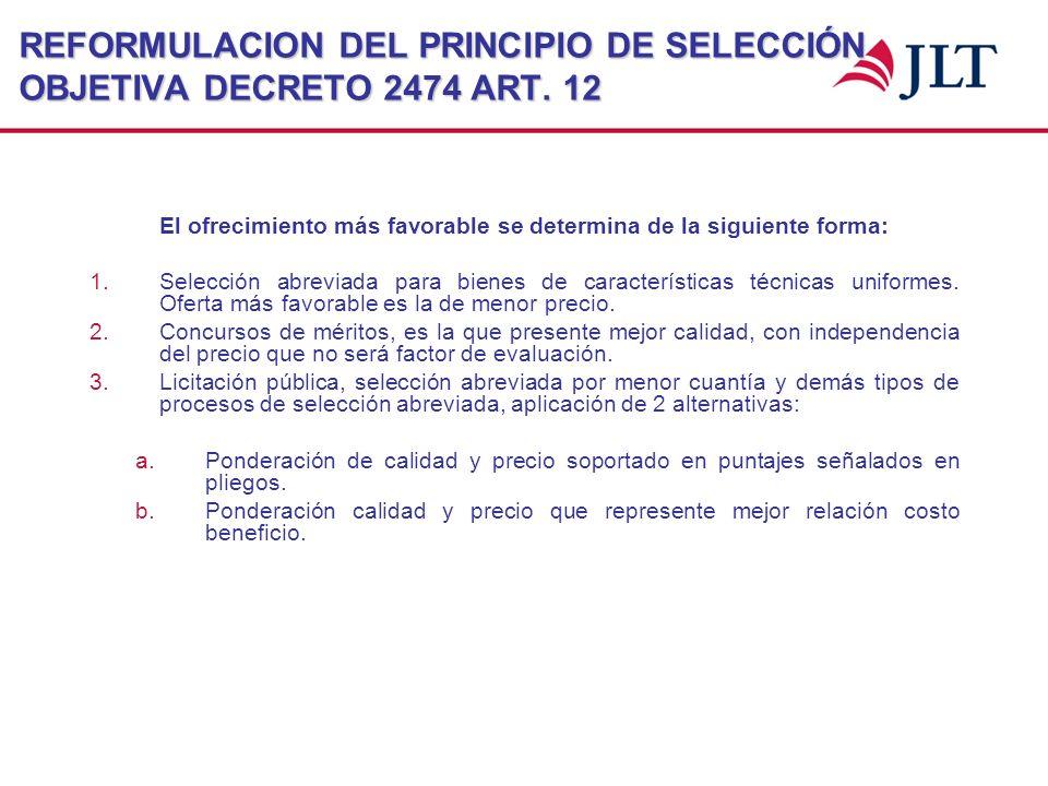 REFORMULACION DEL PRINCIPIO DE SELECCIÓN OBJETIVA DECRETO 2474 ART. 12 El ofrecimiento más favorable se determina de la siguiente forma: 1.Selección a