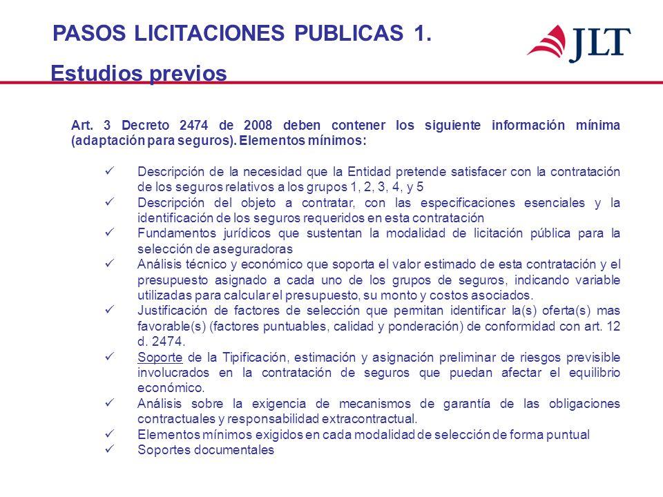 PASOS LICITACIONES PUBLICAS 1. Estudios previos Art. 3 Decreto 2474 de 2008 deben contener los siguiente información mínima (adaptación para seguros).