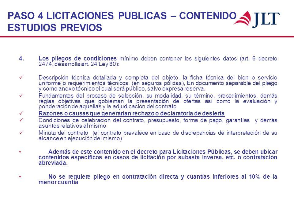 PASO 4 LICITACIONES PUBLICAS – CONTENIDO ESTUDIOS PREVIOS 4. Los pliegos de condiciones mínimo deben contener los siguientes datos (art. 6 decreto 247