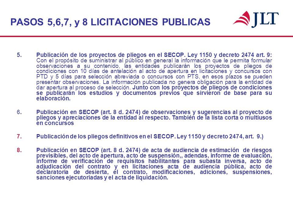 PASOS 5,6,7, y 8 LICITACIONES PUBLICAS 5. Publicación de los proyectos de pliegos en el SECOP. Ley 1150 y decreto 2474 art. 9: Con el propósito de sum