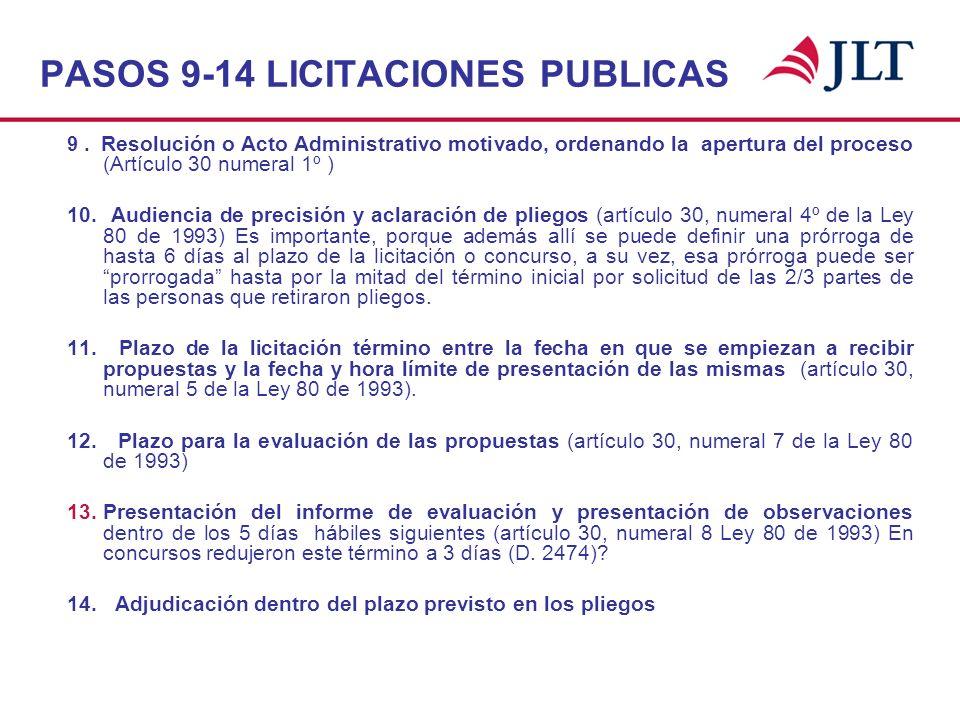 PASOS 9-14 LICITACIONES PUBLICAS 9. Resolución o Acto Administrativo motivado, ordenando la apertura del proceso (Artículo 30 numeral 1º ) 10. Audienc