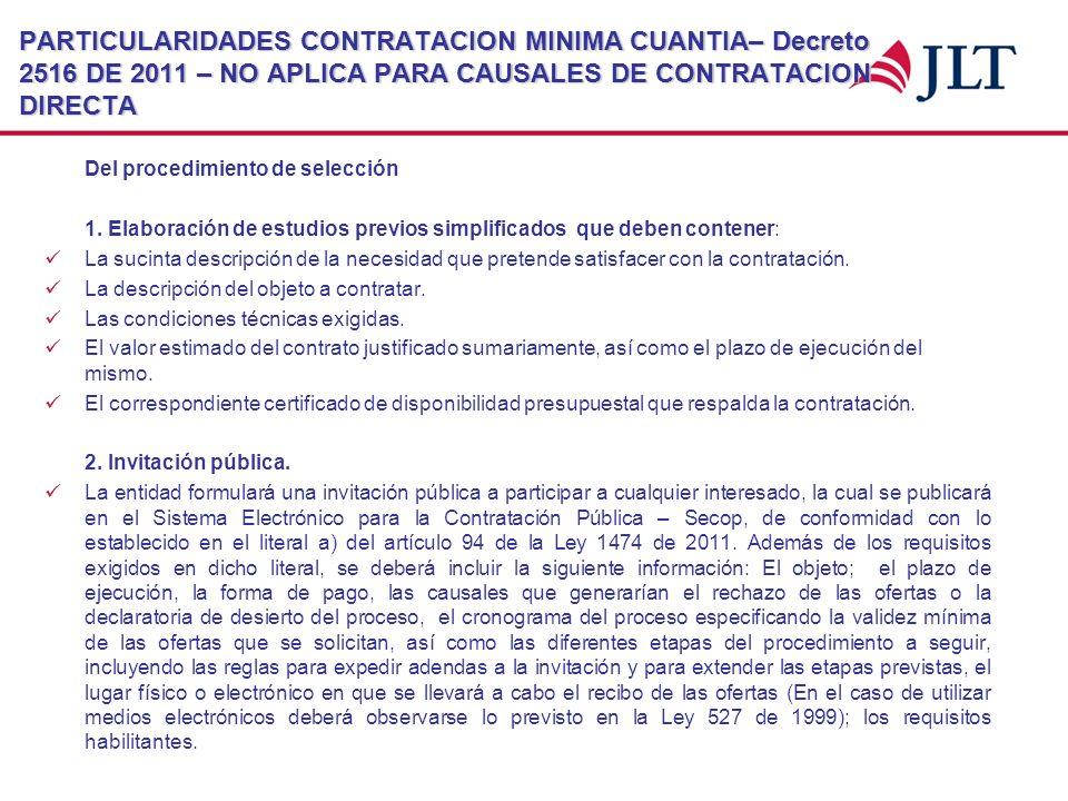 PARTICULARIDADES CONTRATACION MINIMA CUANTIA– Decreto 2516 DE 2011 – NO APLICA PARA CAUSALES DE CONTRATACION DIRECTA Del procedimiento de selección 1.