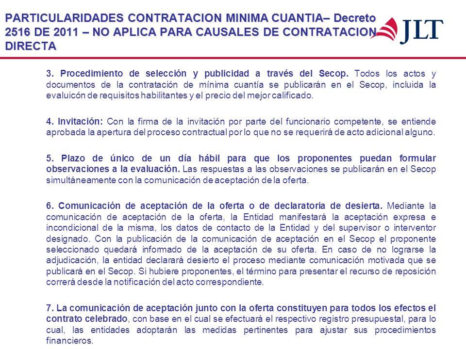 PARTICULARIDADES CONTRATACION MINIMA CUANTIA– Decreto 2516 DE 2011 – NO APLICA PARA CAUSALES DE CONTRATACION DIRECTA 3. Procedimiento de selección y p