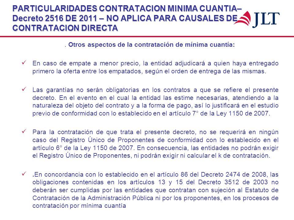 PARTICULARIDADES CONTRATACION MINIMA CUANTIA– Decreto 2516 DE 2011 – NO APLICA PARA CAUSALES DE CONTRATACION DIRECTA. Otros aspectos de la contratació