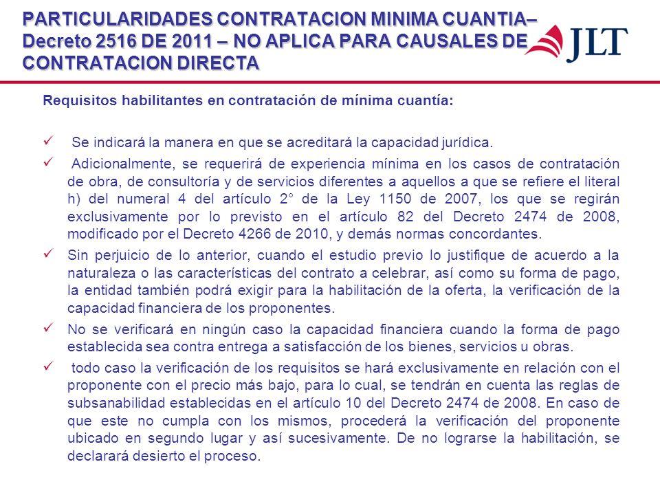 PARTICULARIDADES CONTRATACION MINIMA CUANTIA– Decreto 2516 DE 2011 – NO APLICA PARA CAUSALES DE CONTRATACION DIRECTA Requisitos habilitantes en contra