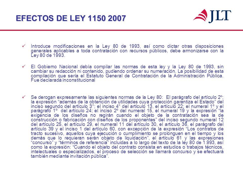 EFECTOS DE LEY 1150 2007 Introduce modificaciones en la Ley 80 de 1993, así como dictar otras disposiciones generales aplicables a toda contratación c