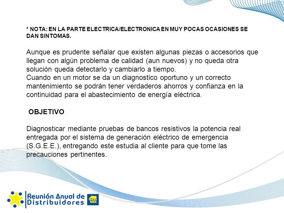 * NOTA: EN LA PARTE ELECTRICA/ELECTRONICA EN MUY POCAS OCASIONES SE DAN SINTOMAS.