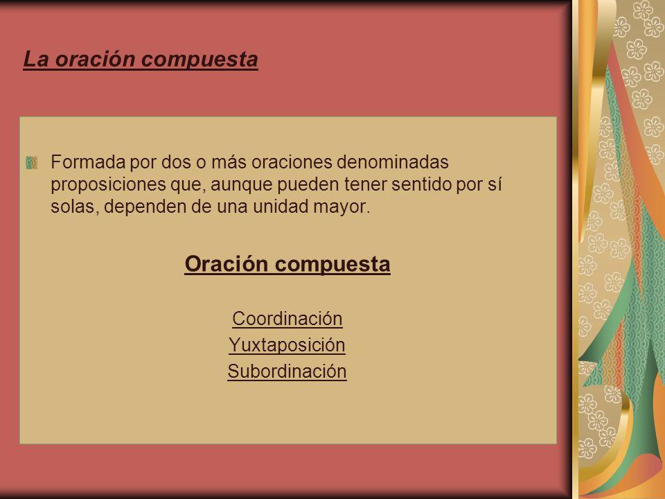 Coordinación Unión de dos o más proposiciones en plano de igualdad sintáctica.