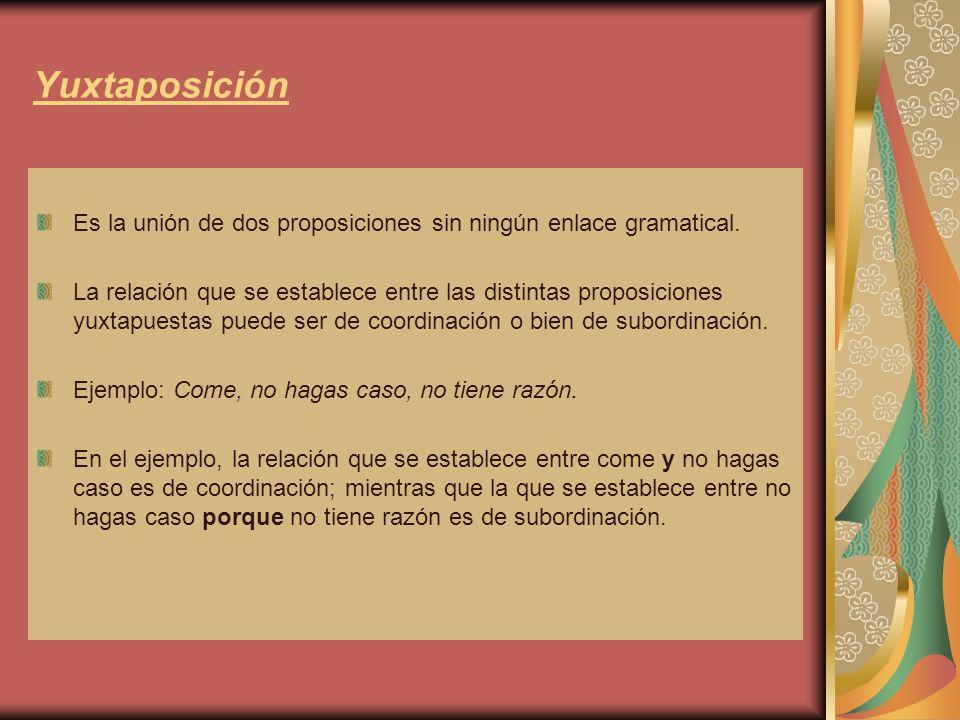 Subordinación En el caso de la subordinación, una proposición depende de la otra y realiza, la proposición subordinada, una función dentro de la proposición principal.