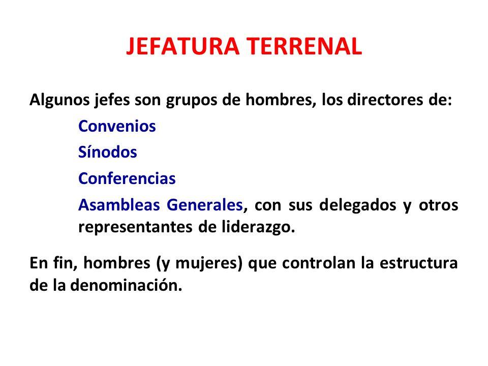 JEFATURA TERRENAL Algunos jefes son grupos de hombres, los directores de: Convenios Sínodos Conferencias Asambleas Generales, con sus delegados y otro