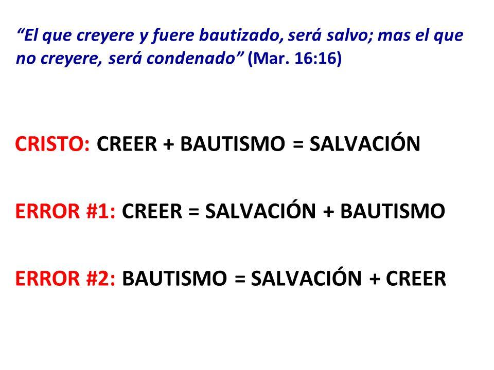 El que creyere y fuere bautizado, será salvo; mas el que no creyere, será condenado El que creyere y fuere bautizado, será salvo; mas el que no creyer