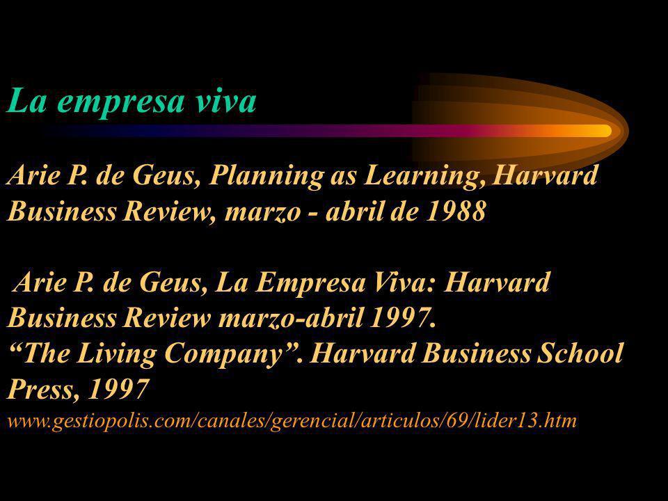 La empresa viva Arie P. de Geus, Planning as Learning, Harvard Business Review, marzo - abril de 1988 Arie P. de Geus, La Empresa Viva: Harvard Busine