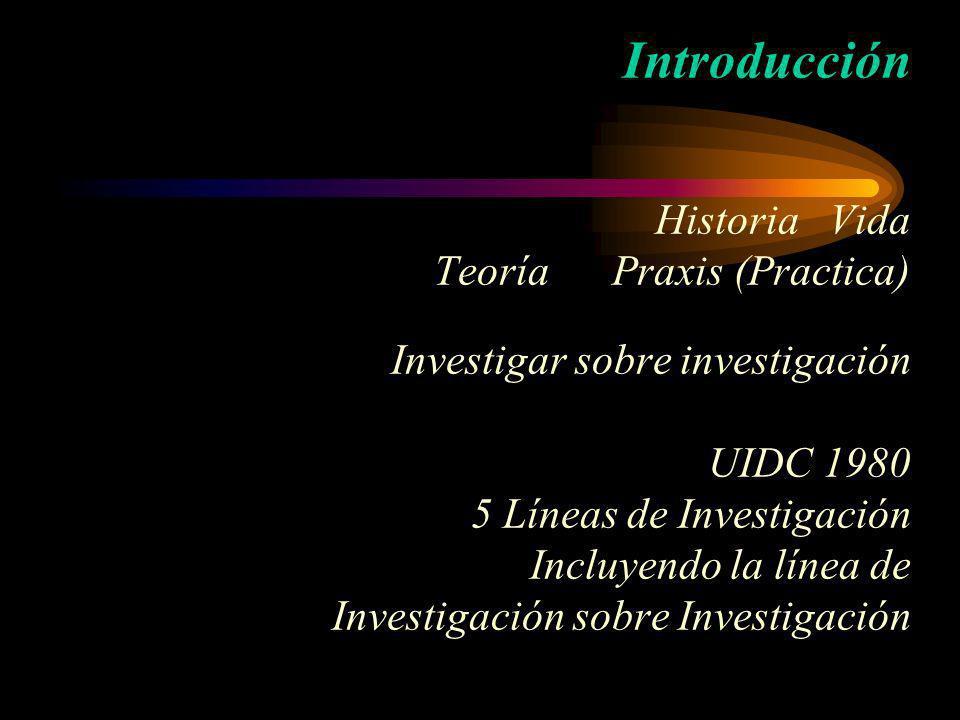Introducción Historia Vida Teoría Praxis (Practica) Investigar sobre investigación UIDC 1980 5 Líneas de Investigación Incluyendo la línea de Investig