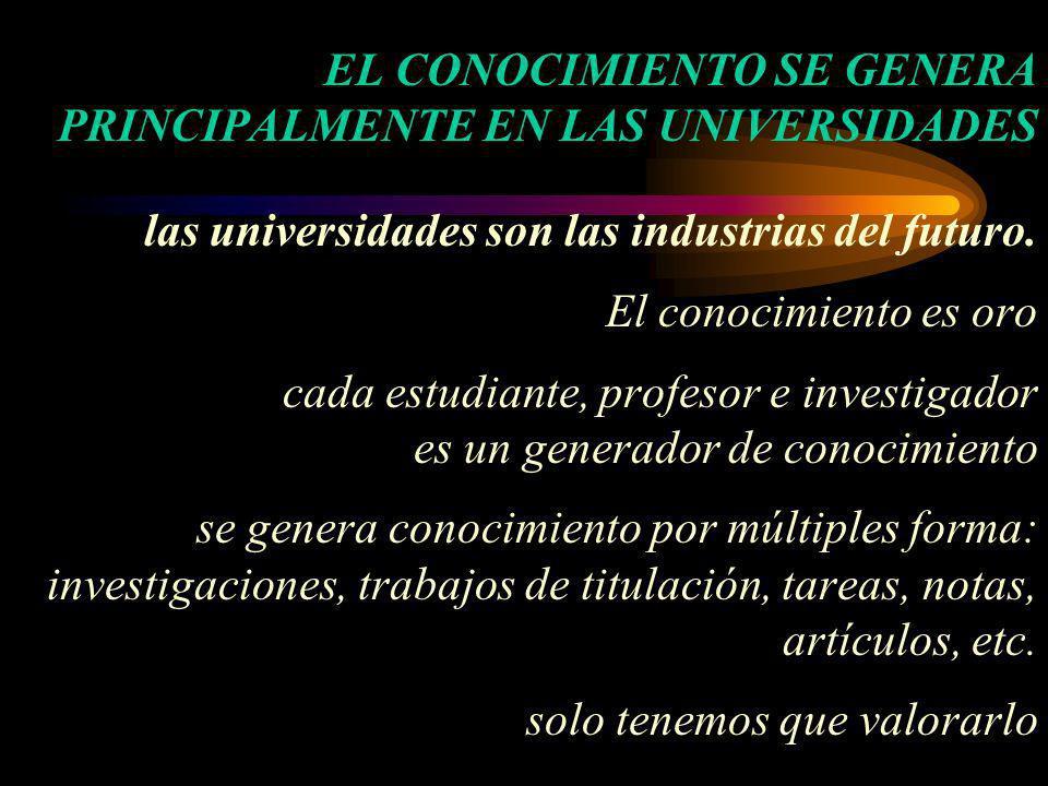 EL CONOCIMIENTO SE GENERA PRINCIPALMENTE EN LAS UNIVERSIDADES las universidades son las industrias del futuro. El conocimiento es oro cada estudiante,