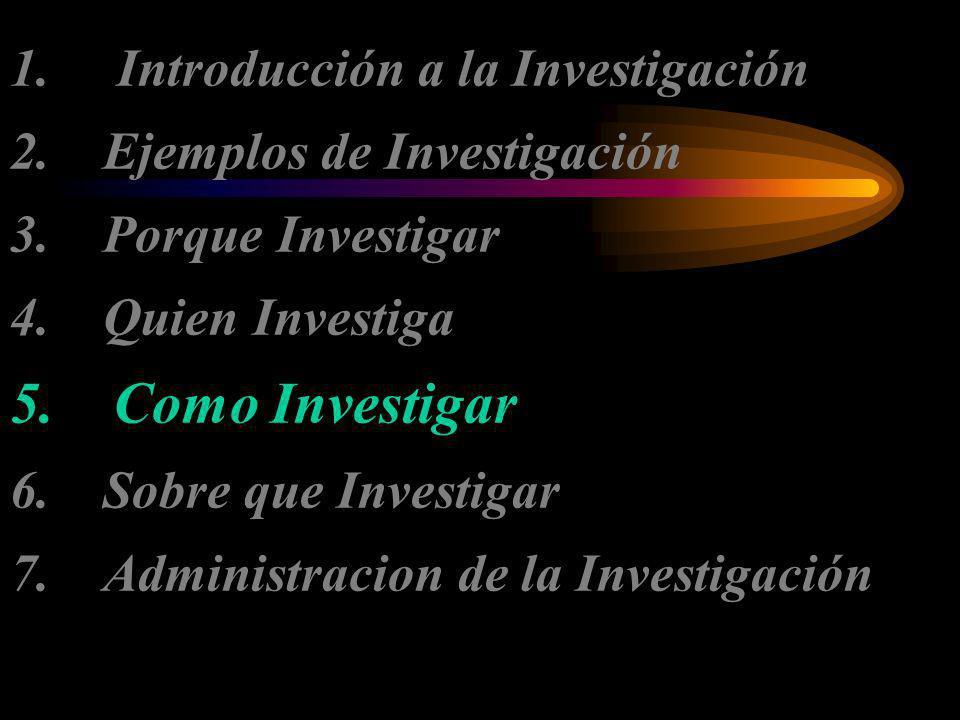 1. Introducción a la Investigación 2. Ejemplos de Investigación 3. Porque Investigar 4. Quien Investiga 5. Como Investigar 6. Sobre que Investigar 7.