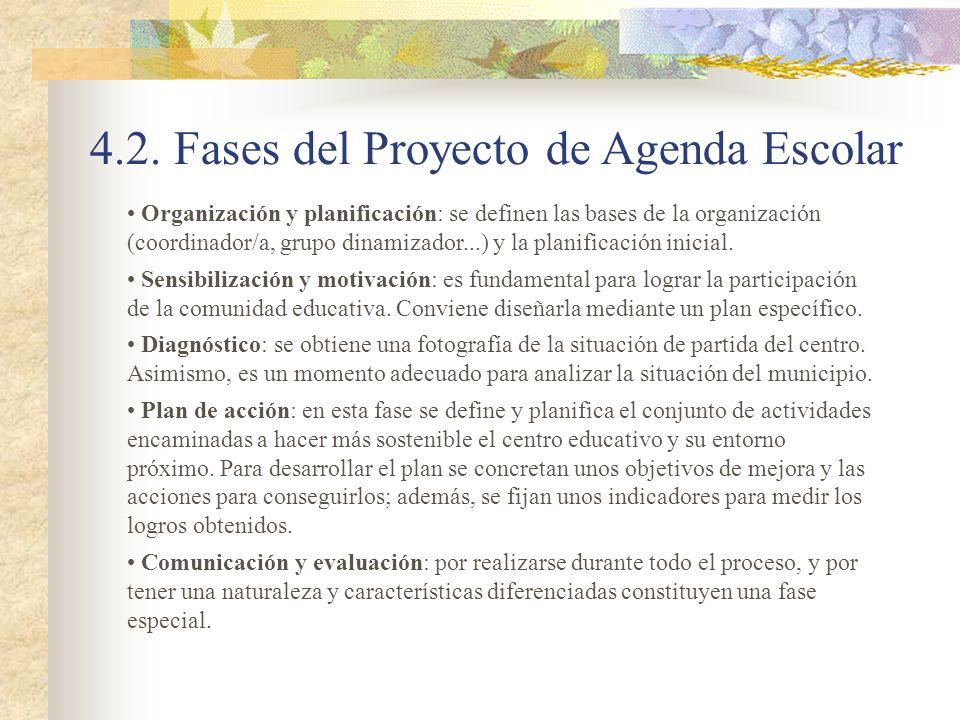 4.2. Fases del Proyecto de Agenda Escolar Organización y planificación: se definen las bases de la organización (coordinador/a, grupo dinamizador...)