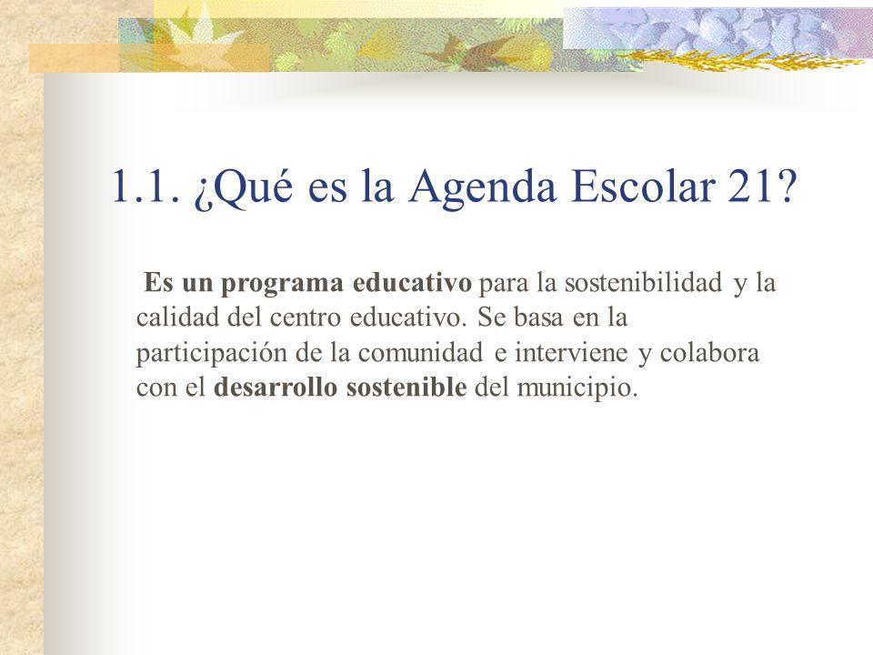 1.1. ¿Qué es la Agenda Escolar 21? Es un programa educativo para la sostenibilidad y la calidad del centro educativo. Se basa en la participación de l
