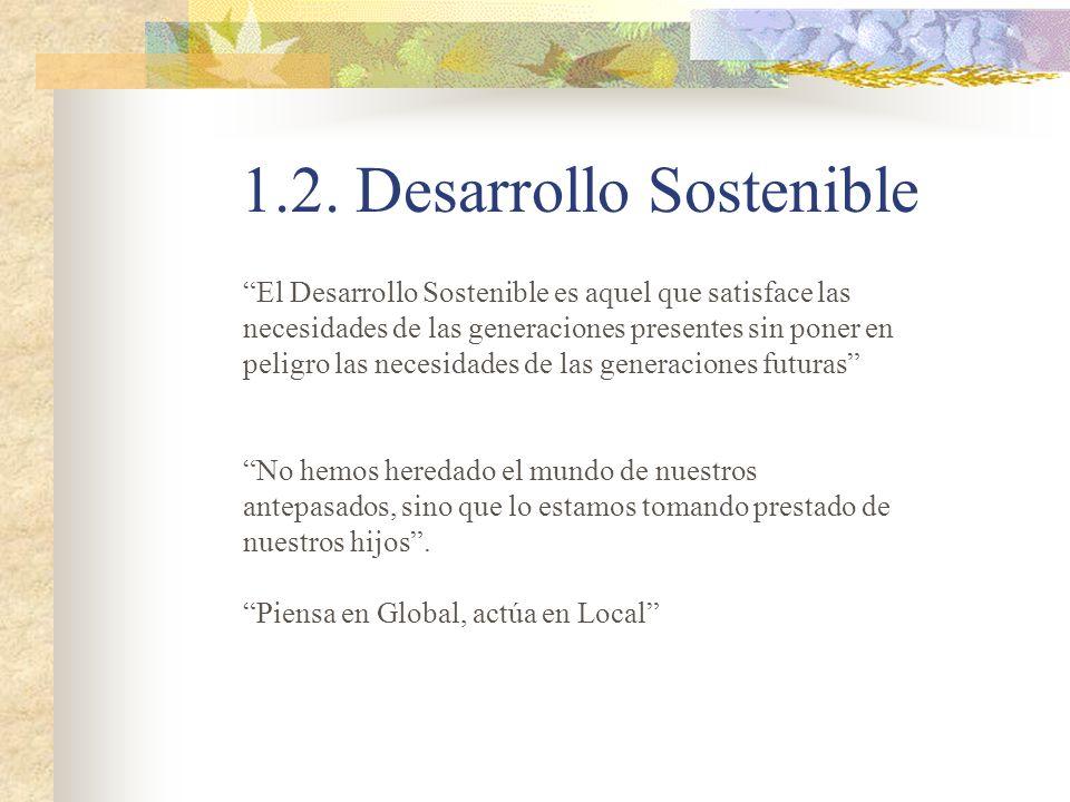 1.2. Desarrollo Sostenible Piensa en Global, actúa en Local El Desarrollo Sostenible es aquel que satisface las necesidades de las generaciones presen