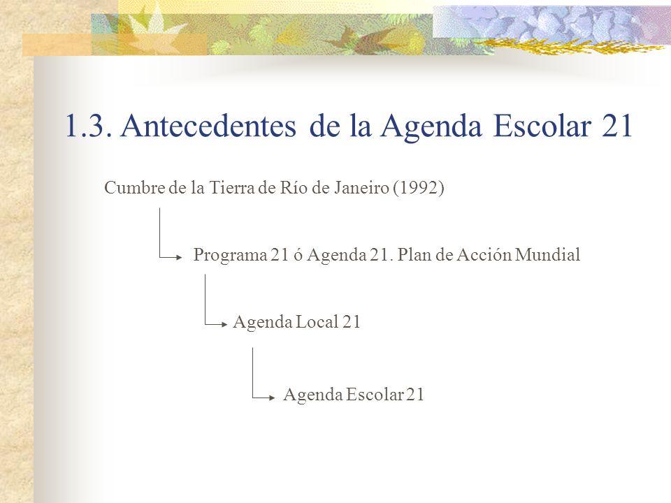 1.3. Antecedentes de la Agenda Escolar 21 Cumbre de la Tierra de Río de Janeiro (1992) Agenda Local 21 Programa 21 ó Agenda 21. Plan de Acción Mundial