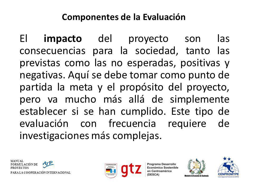 MANUAL FORMULACIÓN DE PROYECTOS PARA LA COOPERACIÓN INTERNACIONAL Componentes de la Evaluación El impacto del proyecto son las consecuencias para la s