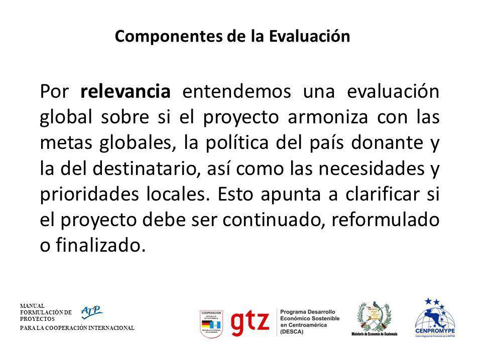 MANUAL FORMULACIÓN DE PROYECTOS PARA LA COOPERACIÓN INTERNACIONAL Componentes de la Evaluación Por relevancia entendemos una evaluación global sobre s